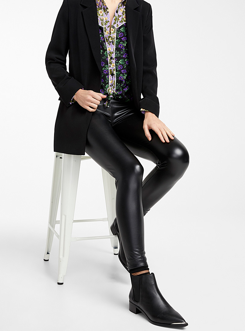 Simons Black Smooth faux-leather legging for women