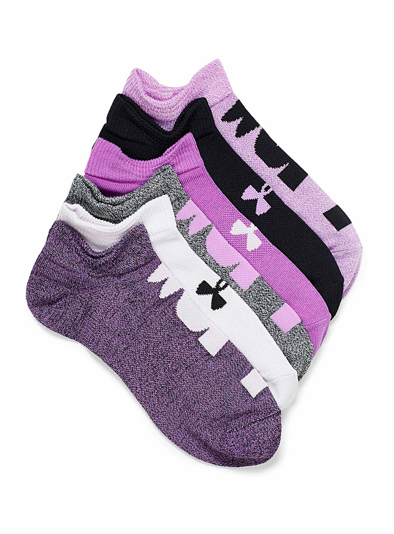 Under Armour Patterned Black Essential invisible ped socks  Set of 6 for women