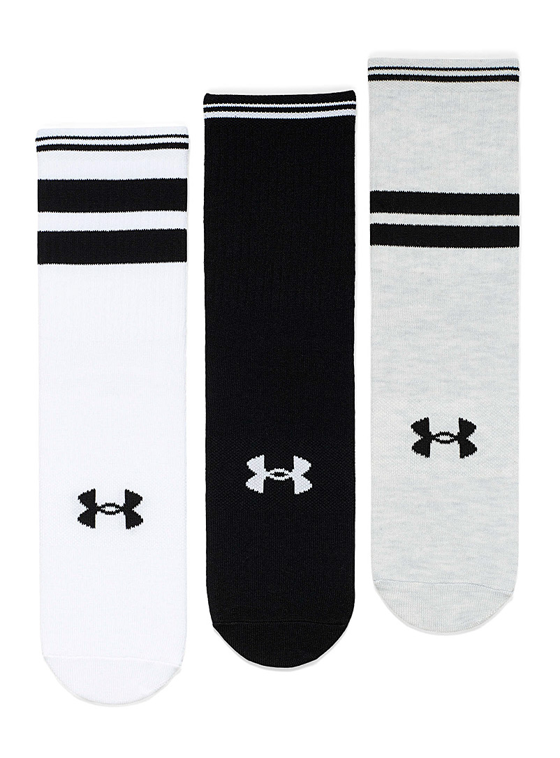 Under Armour Black Sporty ribbed ankle socks Set of 3 for women