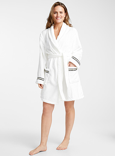 Golden accent cotton fleece robe