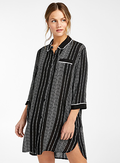 DKNY Patterned Black Vertical signature nightgown for women