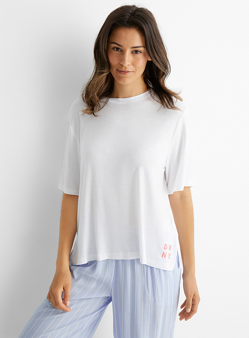 DKNY White Coral-signature white T-shirt for women