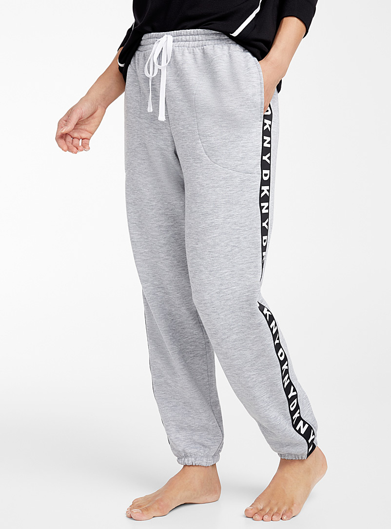 DKNY Dark Grey Signature side stripe joggers for women