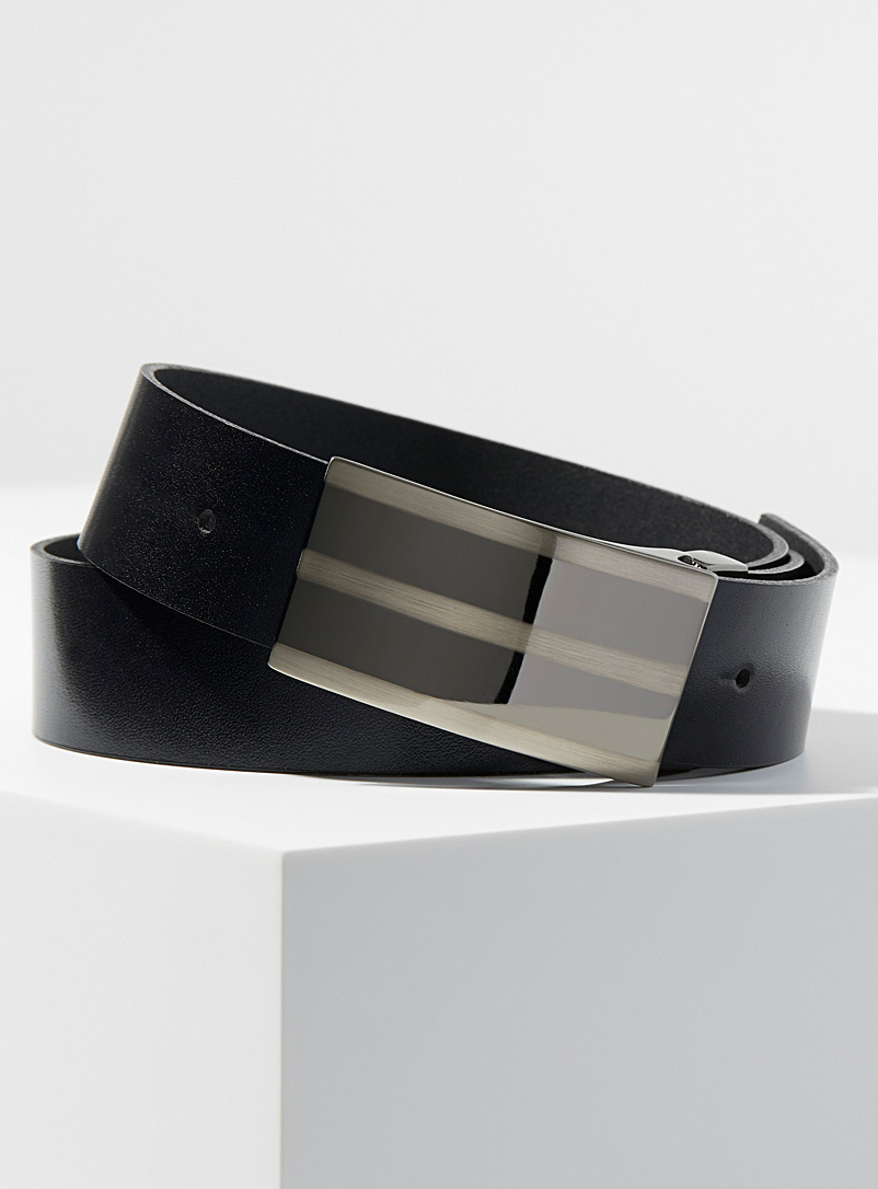 Brushed buckle leather belt
