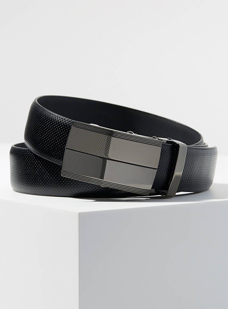 Le 31 Black Micro-pattern automatic belt for men