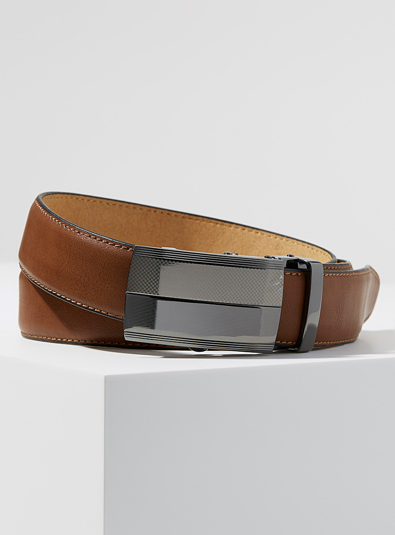 Le 31 Fawn Micro-pattern automatic belt for men