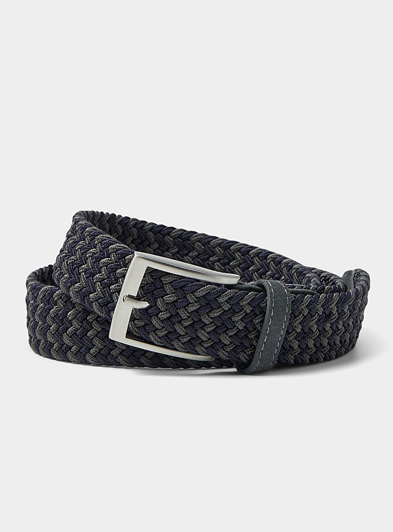 Le 31 Black Two-tone braided belt for men