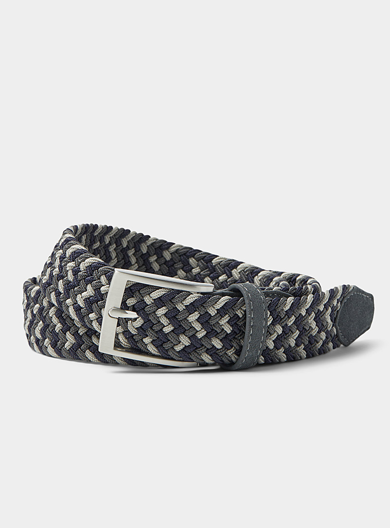 Le 31 Grey Two-tone braided belt for men