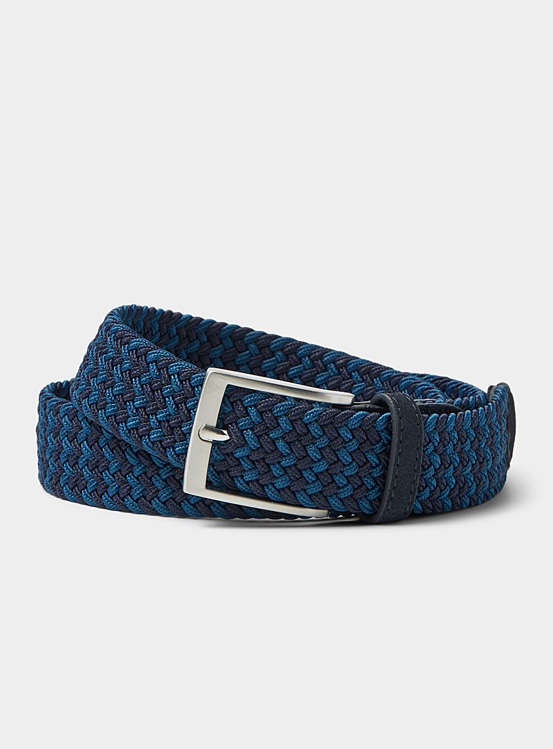 Le 31 Marine Blue Two-tone braided belt for men