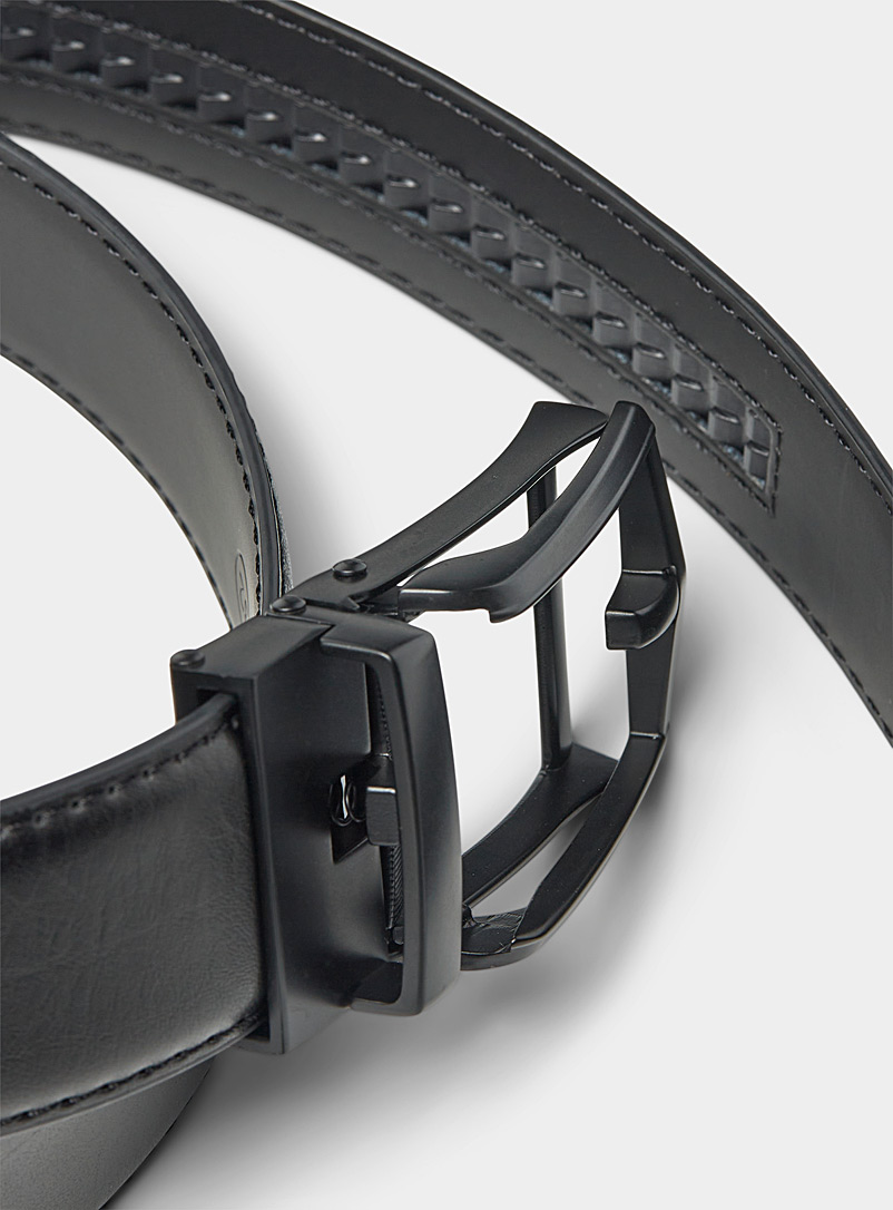 Le 31 Black Openwork buckle automatic belt for men