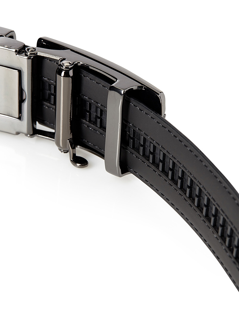 Le 31 Black Automatic two-tone buckle belt for men