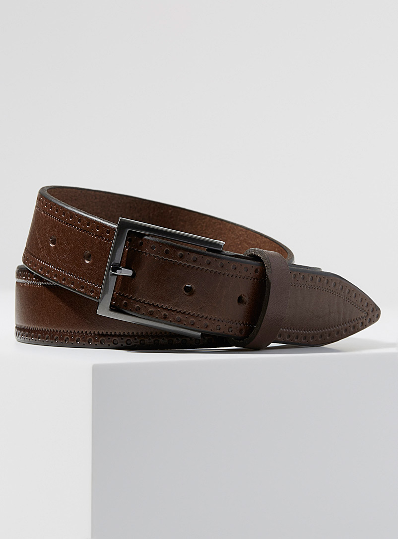 Le 31 Brown Western leather belt for men