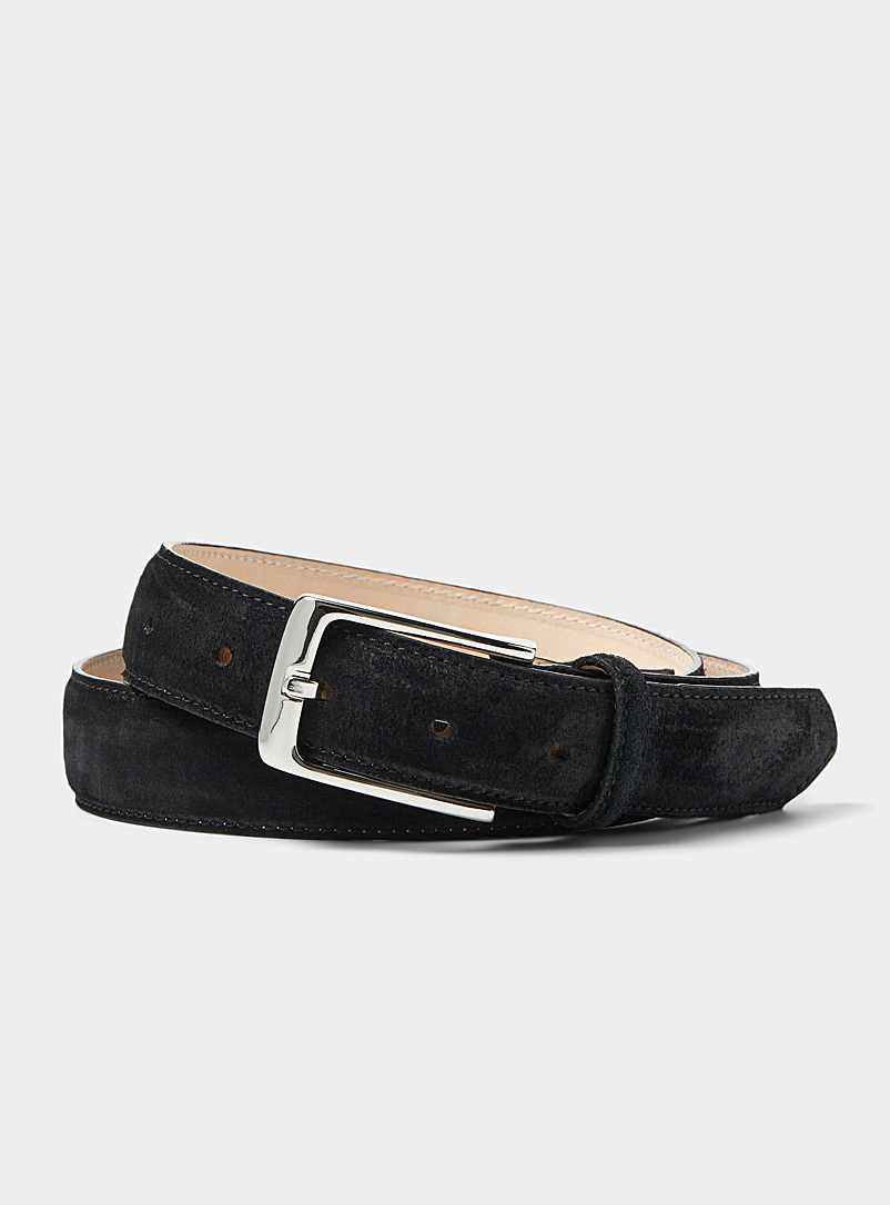 Le 31 Black Elegant suede belt for men