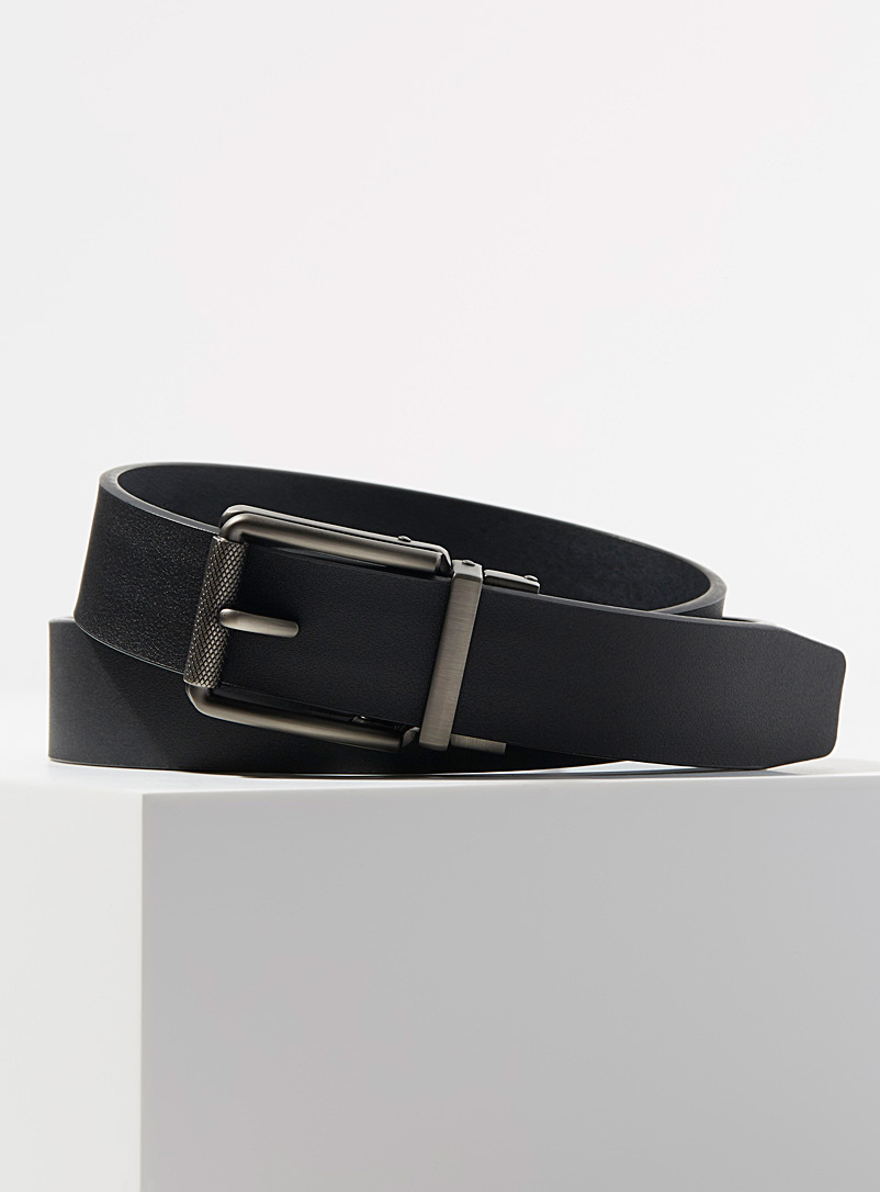 Automatic precise fit leather belt - Dressy - Black
