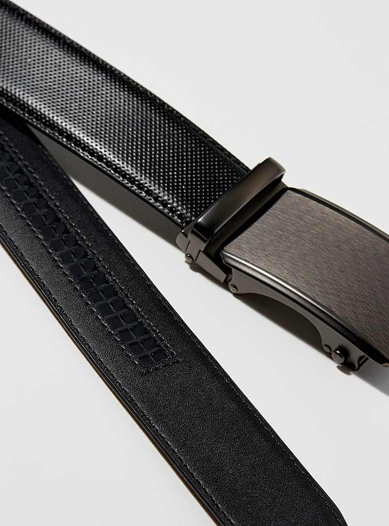 Le 31 Black Automatic micro-perforated leather belt for men