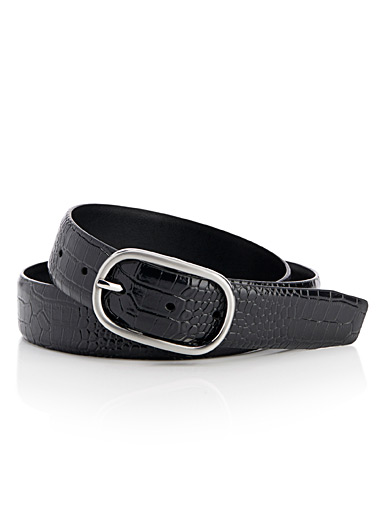 Croc leather belt