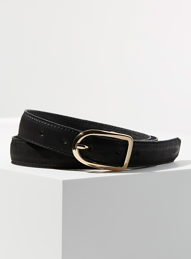 Simons Black Oval buckle suede belt for women