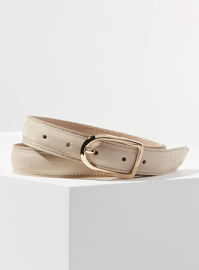 Simons Light Brown Oval buckle suede belt for women