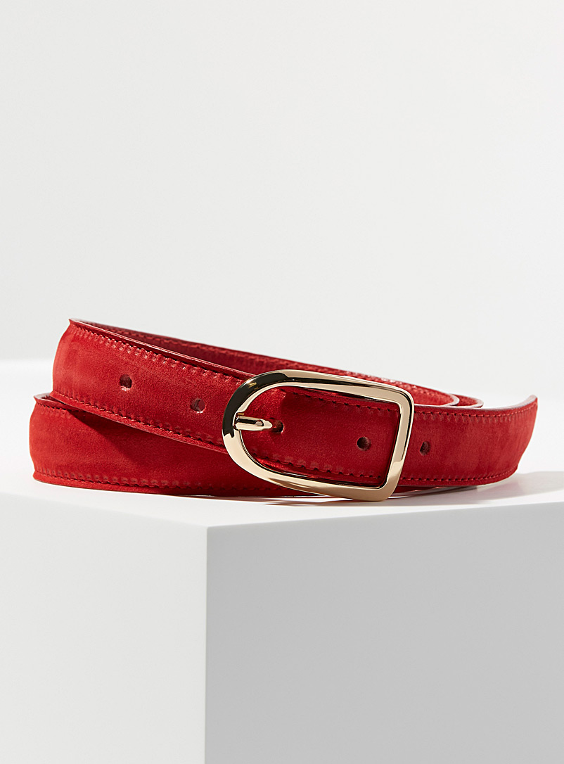 Simons Red Oval buckle suede belt for women