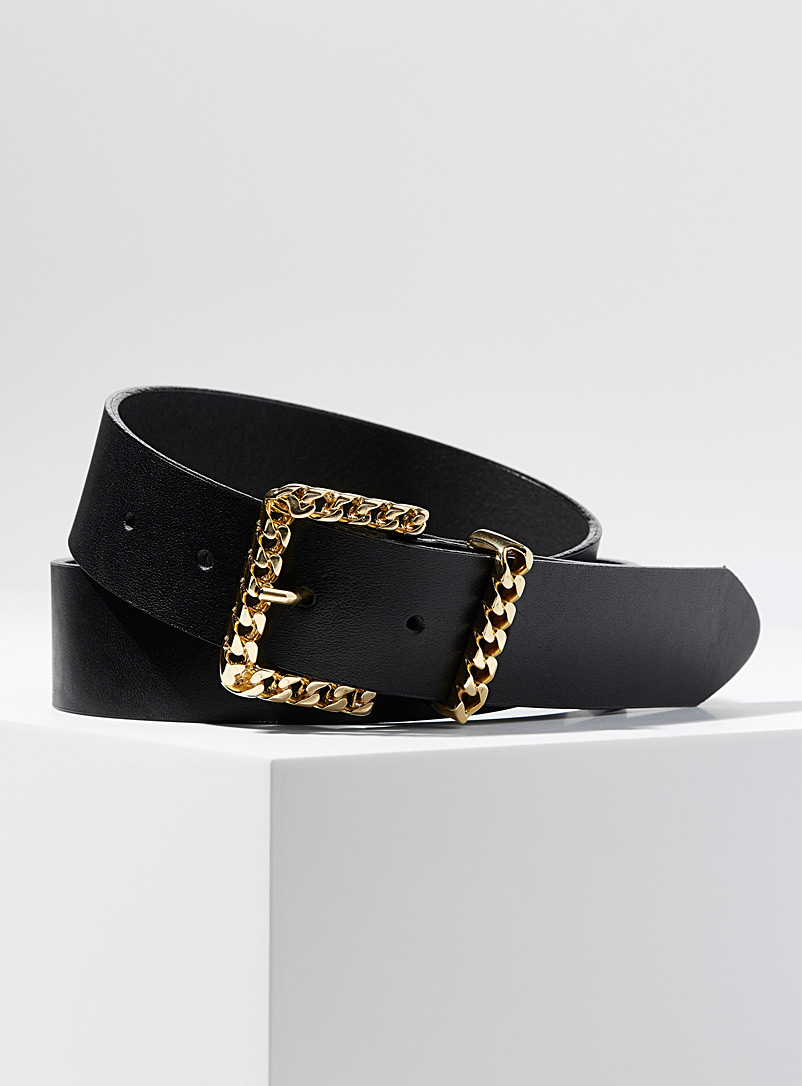 Simons Black Golden chains buckle belt for women
