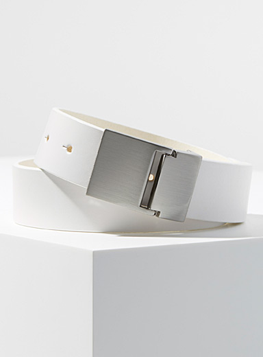 Brushed-steel buckle belt