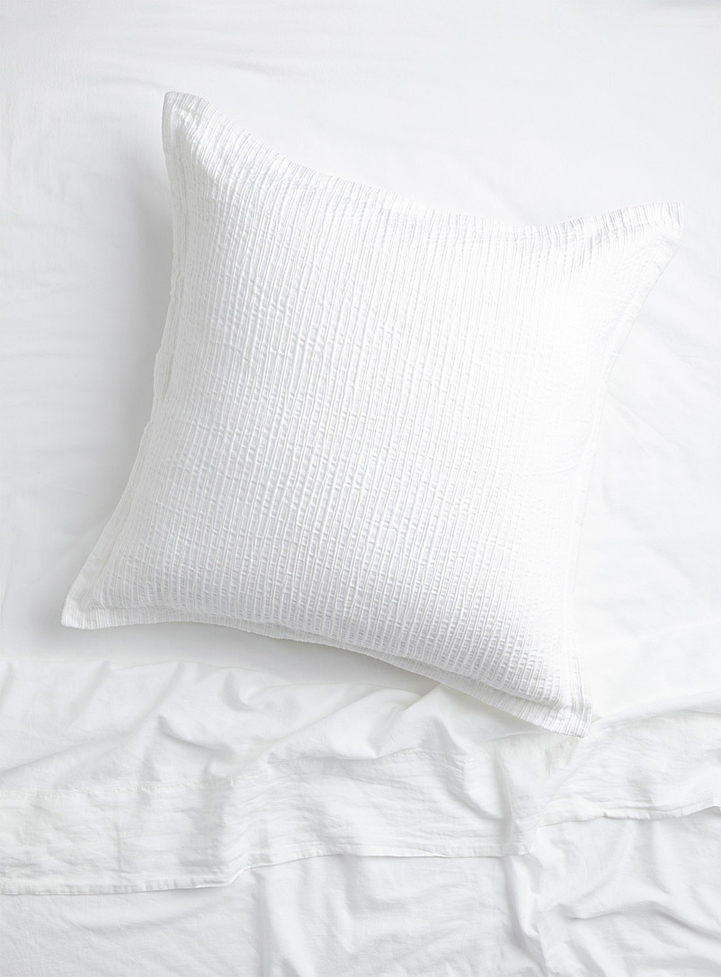Simons Maison White Embossed stripe Euro pillow sham