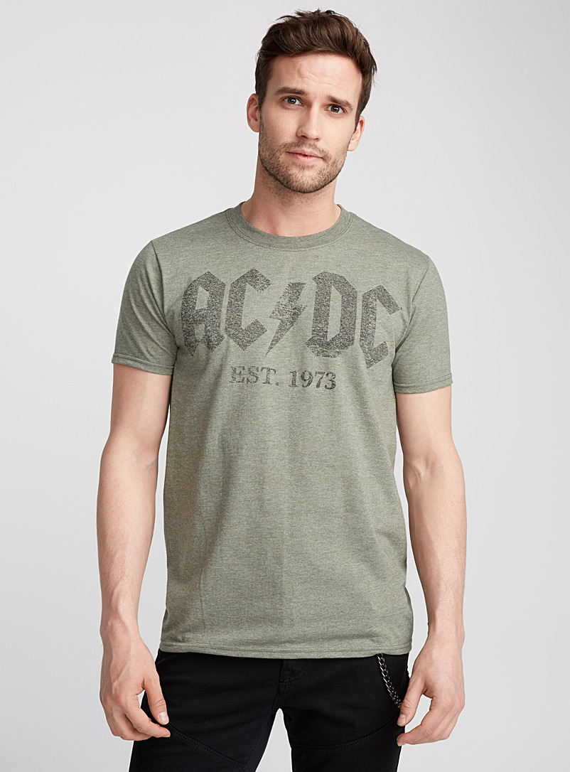 Le 31 Mossy Green Vintage AC/DC T-shirt for men