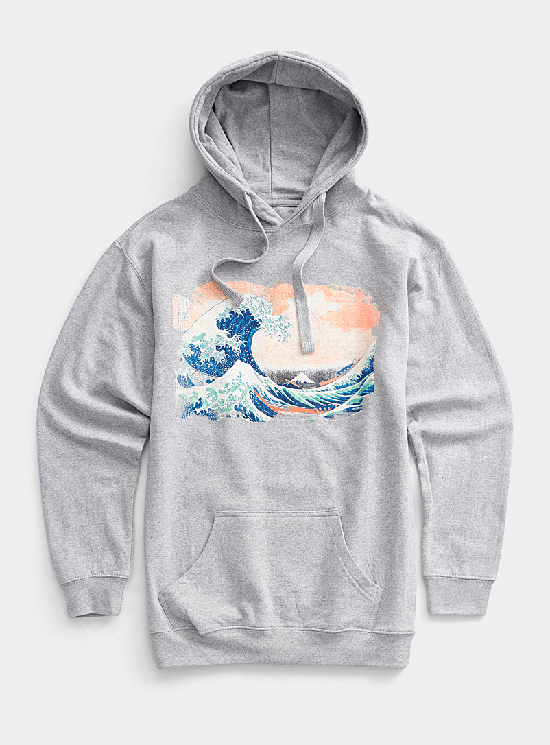 Djab Grey Surrealist wave hoodie for men