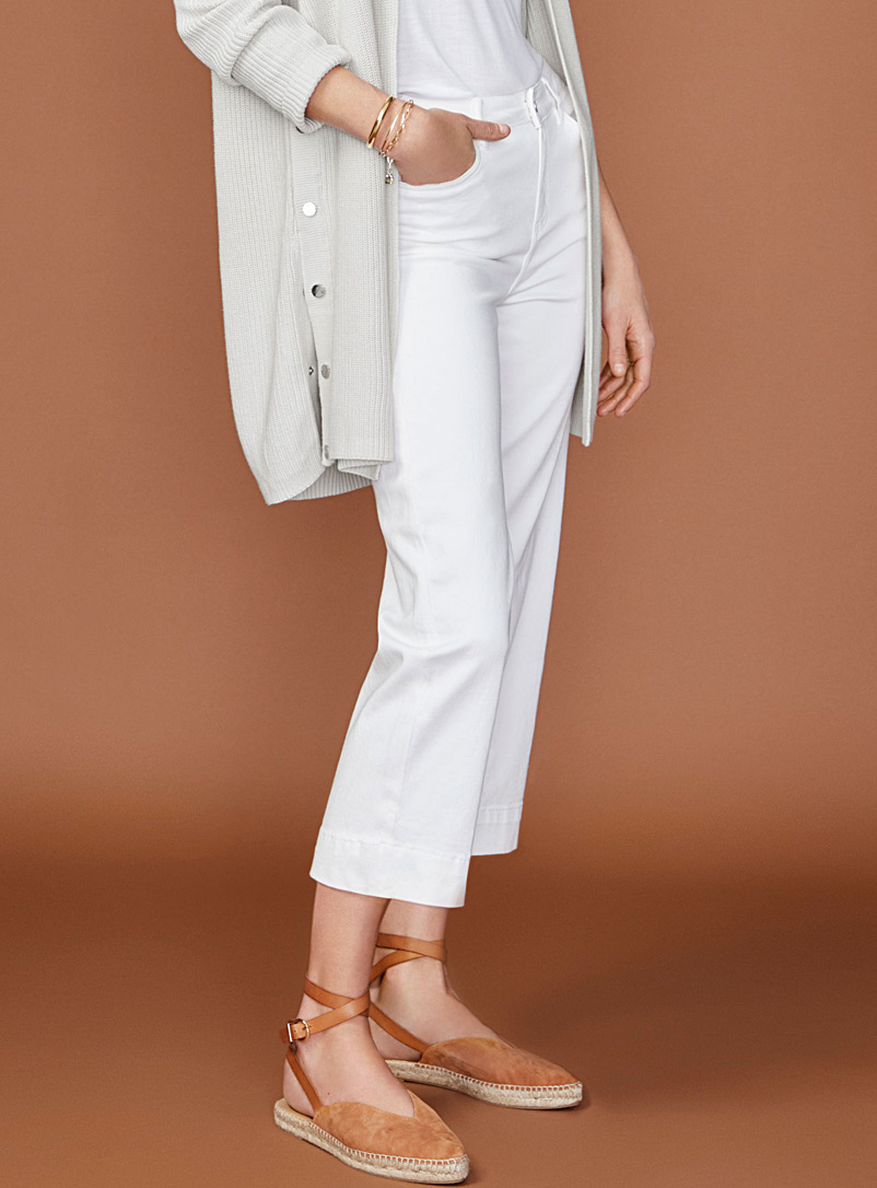 Cropped wide-leg ivory jean - High Rise - Ivory White