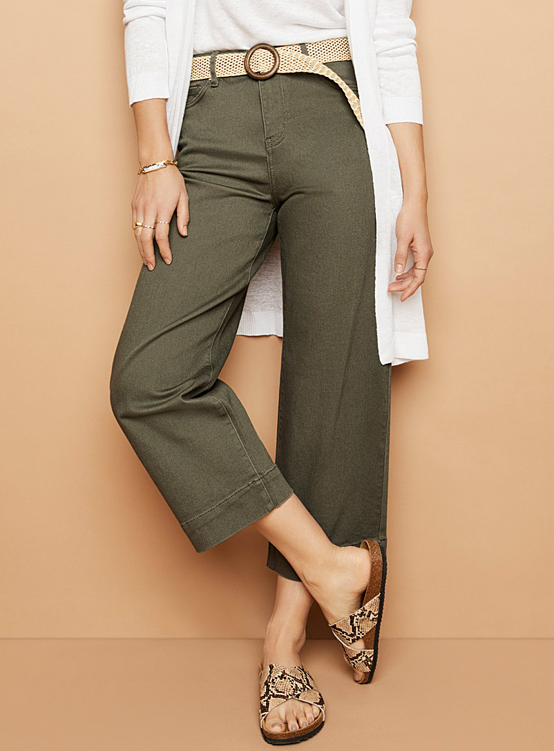 Cropped wide-leg khaki jean - High Rise - Khaki