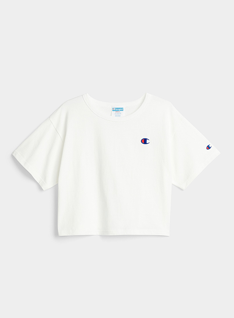 Champion Black Embroidered logo cropped tee for women