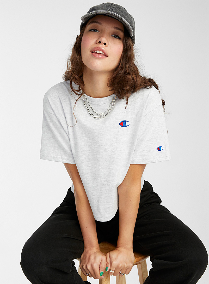 Champion Grey Embroidered logo cropped tee for women