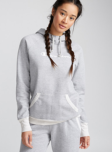 Le sweat à capuche chiné logo