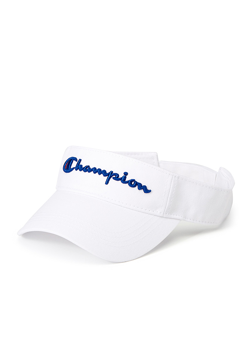 Champion White Embroidered logo athletic visor for men