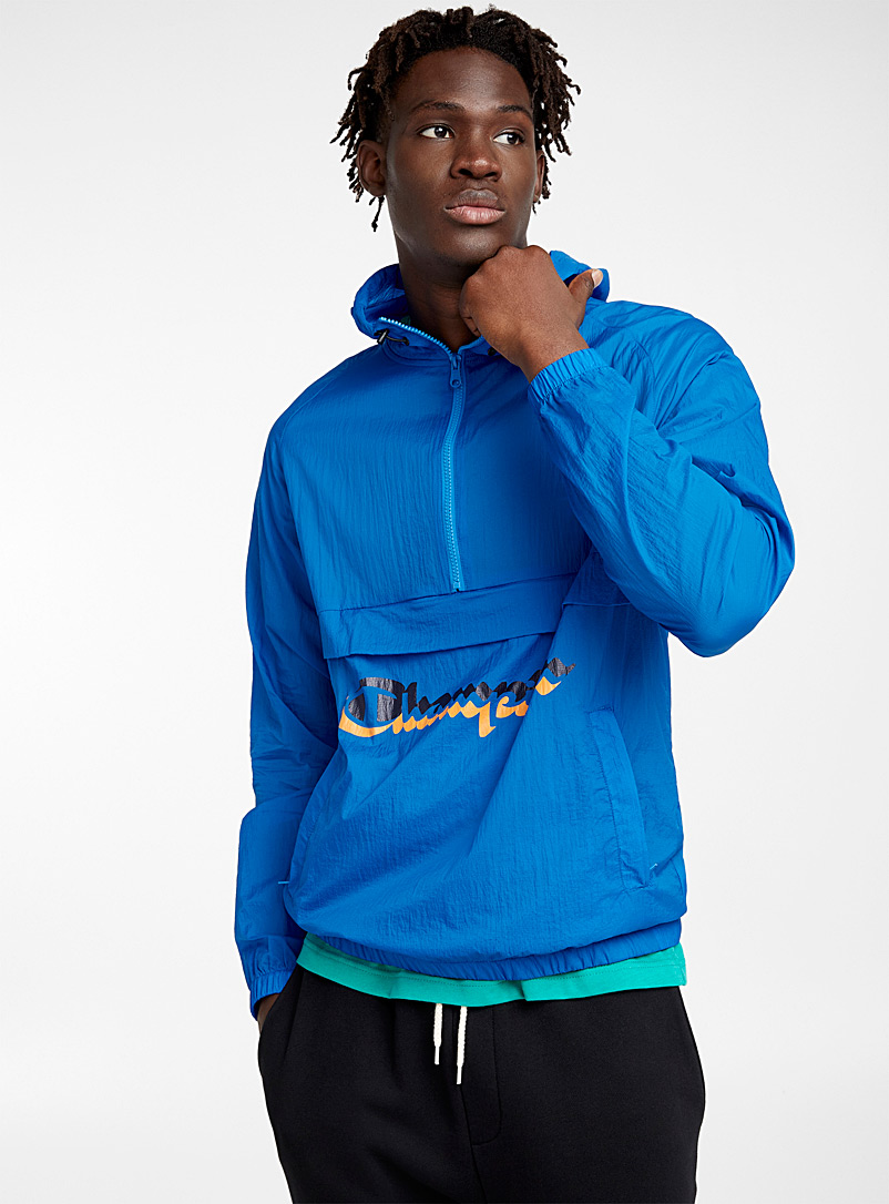 Double logo hooded windbreaker - Jackets & Vests - Blue