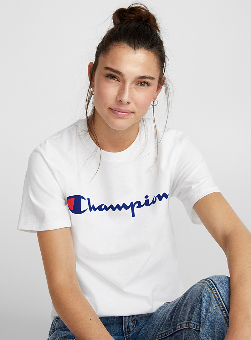 Champion Bright Red Athletic logo tee for women