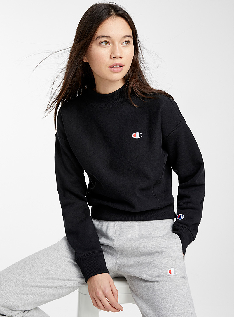 Champion Black Mock-neck mini logo sweatshirt for women