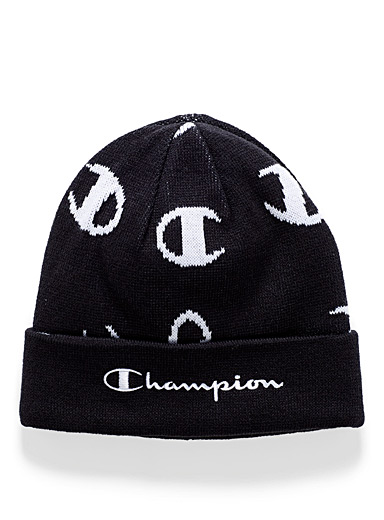 Champion Patterned Black C jacquard cuffed tuque for men