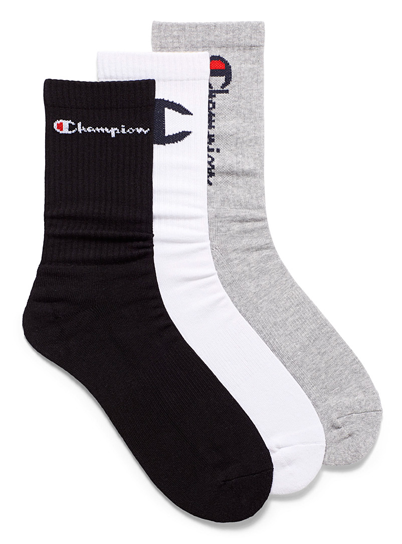 Champion Black and White Vertical ribbed sports socks for men
