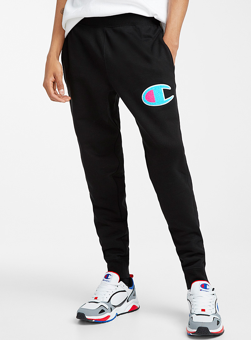Champion Black Pop logo fleece joggers for men