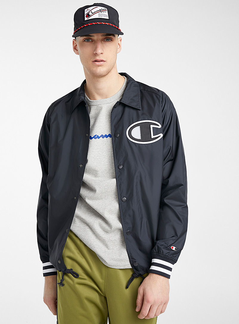 Champion Black C-logo coach jacket for men