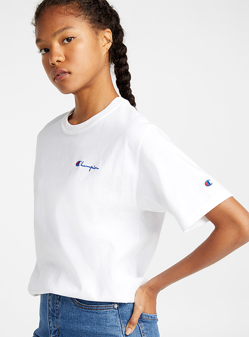 Champion Black Mini embroidery tee for women