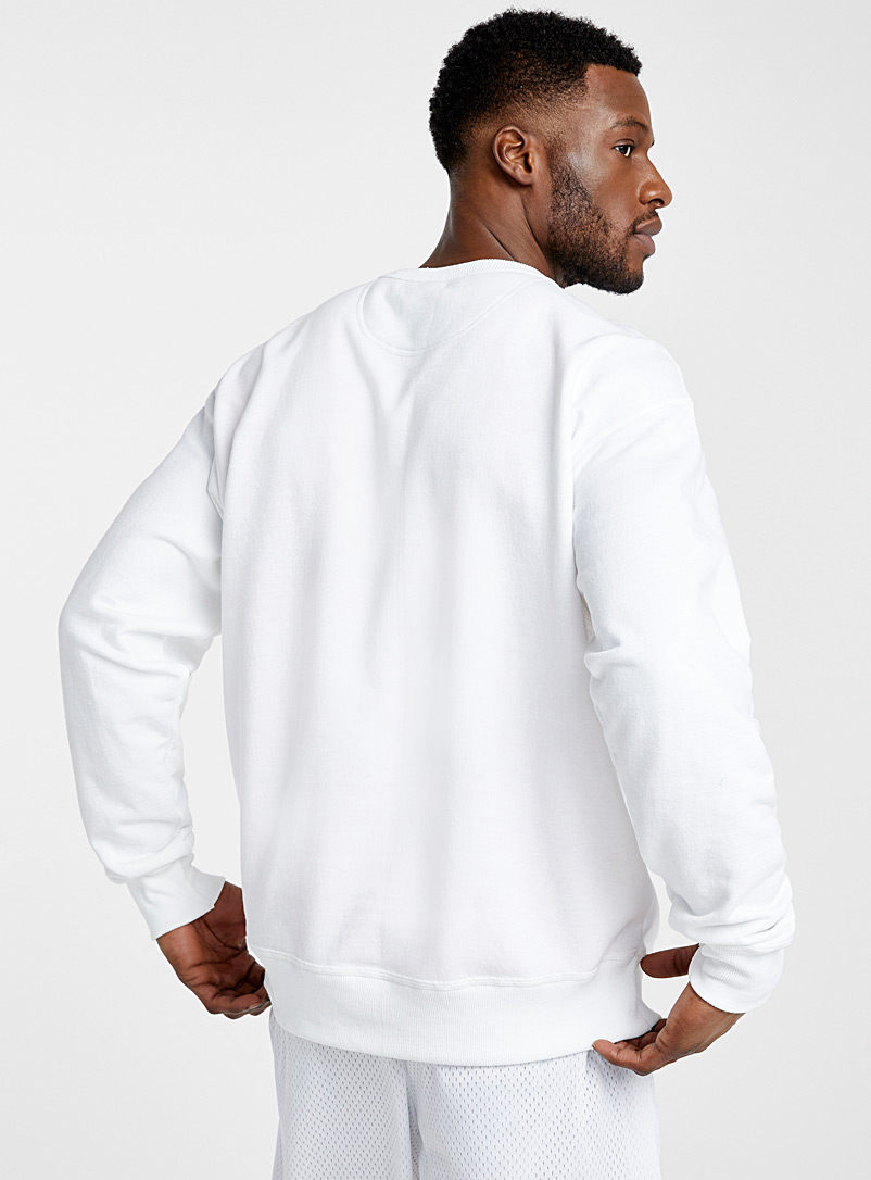 Champion White Felt logo sweatshirt for men