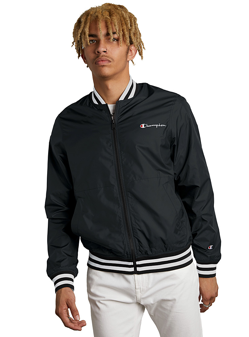 Champion Black Striped-trim bomber jacket for men