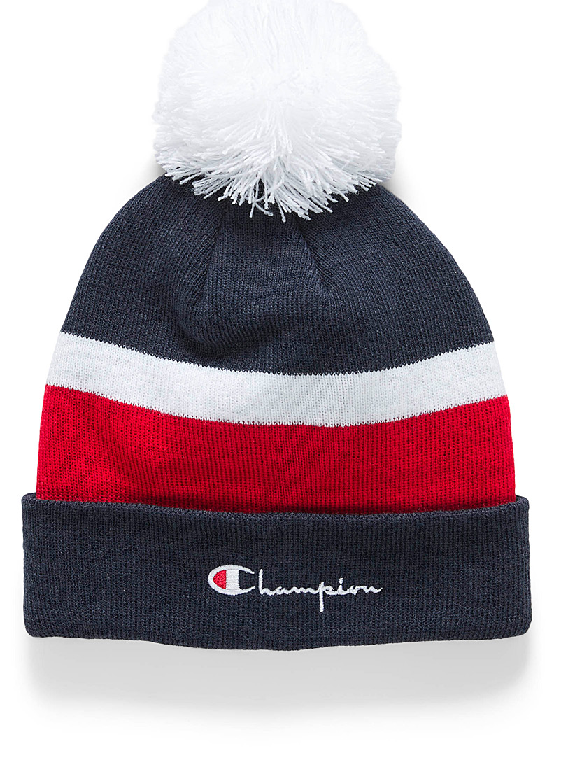 Pompom block tuque