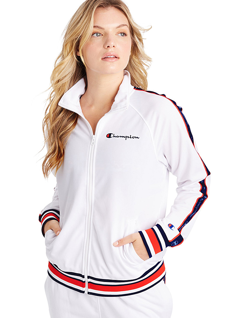 Champion White Retro stripe track jacket for women