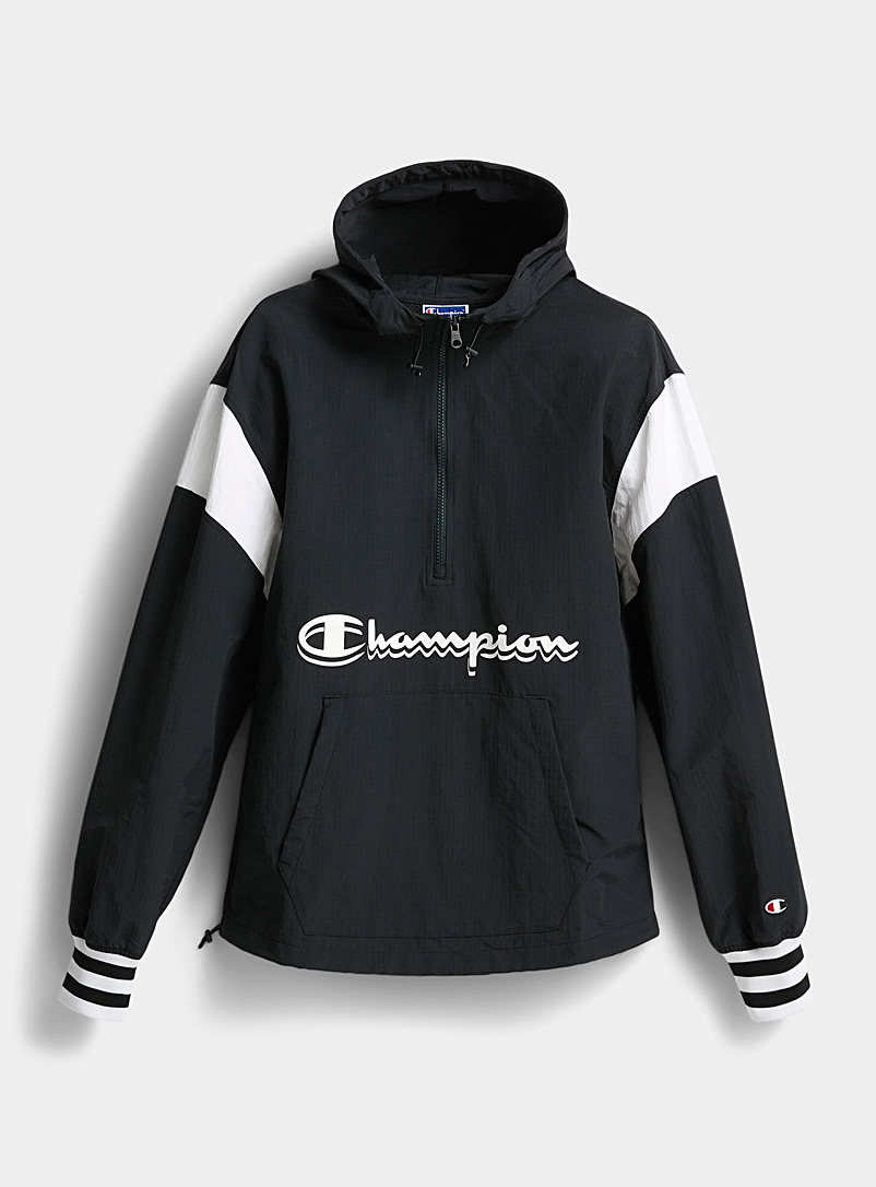 Champion Black Ripstop nylon anorak for men
