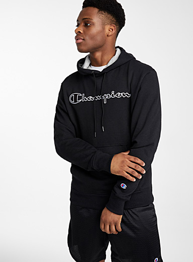 Champion Black Embroidered signature hooded sweatshirt for men