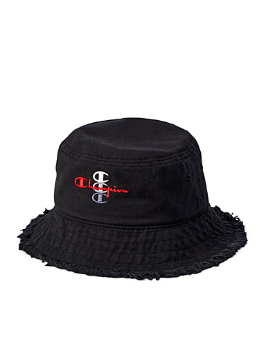Frayed edge embroidered logo bucket hat