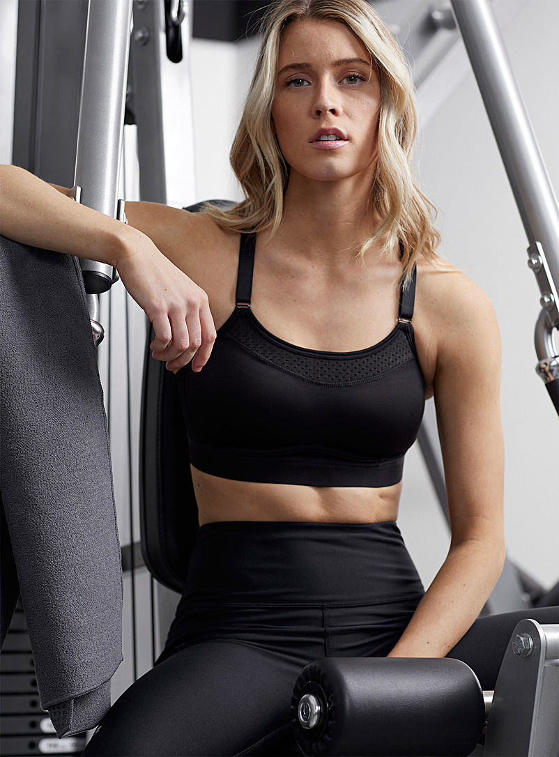 Champion Black Micro-perforated straight collar sports bra for women